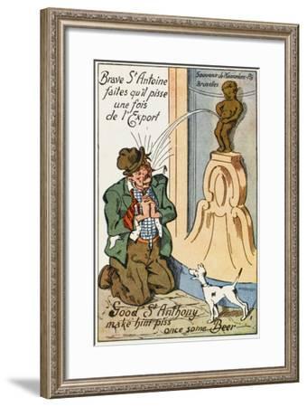 Manneken Pis Postcard Album - Drunkard Praying for Beer--Framed Giclee Print