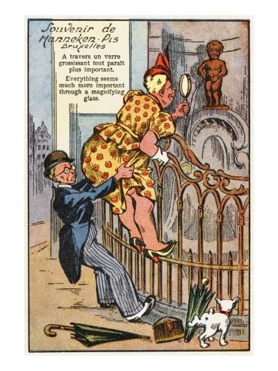 Manneken Pis Postcard Album - Through the Magnifying Glass--Giclee Print