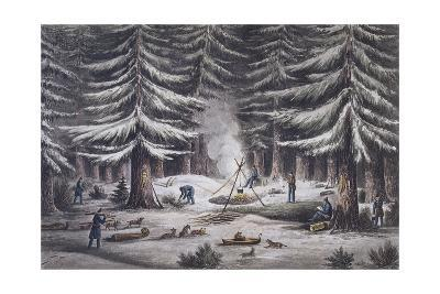 Manner of Making a Resting Place on a Winter's Night-Edward Finden-Giclee Print