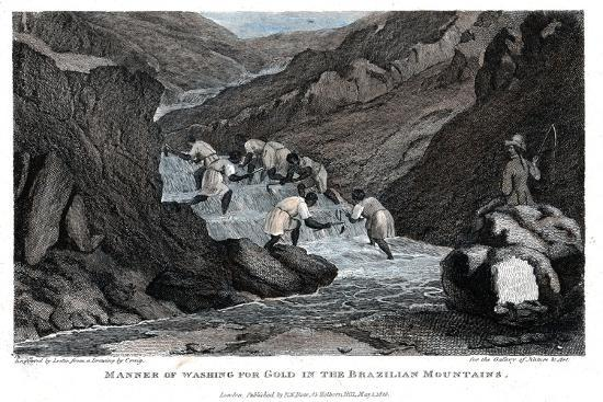 Manner of Washing for Gold in the Brazilian Mountains, 1814- Lester-Giclee Print