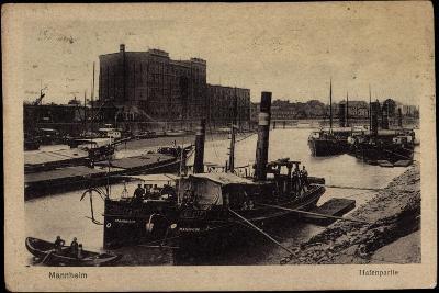 Mannheim, Blick Auf Den Hafen, Dampfer, Uferansicht--Giclee Print