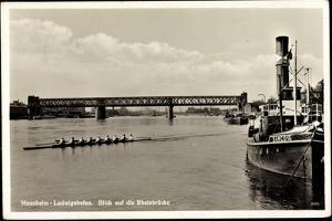 Mannheim Ludwigshafen, Dampfer Damco 16, Rheinrücke