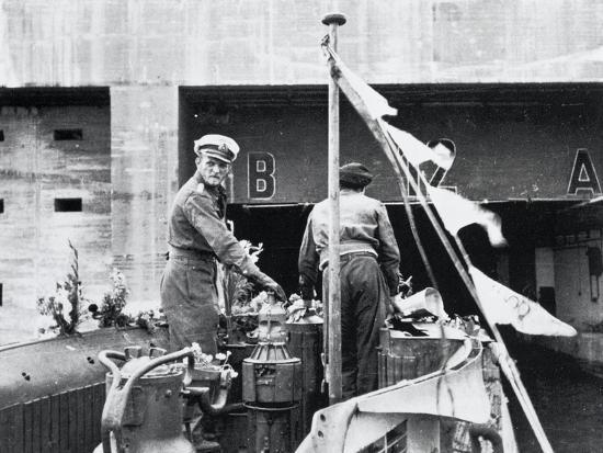 Manoeuver Progress of Submarine U-555 at Entrance to Bunker of German Base in Saint-Nazaire--Giclee Print