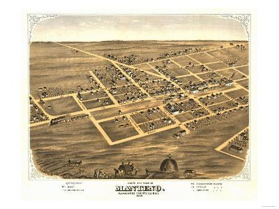 Manteno, Illinois - Panoramic Map-Lantern Press-Art Print