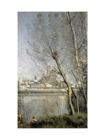 Mantes, View of the Cathedral and Town Through the Trees, c.1865-70-Jean-Baptiste-Camille Corot-Giclee Print
