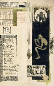 """Black Magic, the Month of November for a Magic Calendar Published in """"Art Nouveau"""" Review, 1896 by Manuel Orazi"""