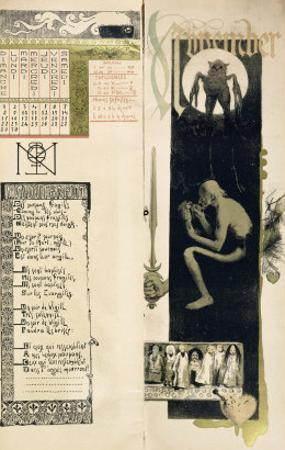 """Black Magic, the Month of November for a Magic Calendar Published in """"Art Nouveau"""" Review, 1896"""