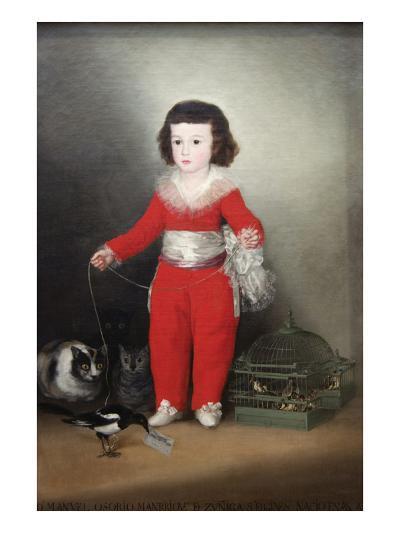 Manuel Osorio Manrique De Zuñiga, a Child with His Pets-Francisco de Goya-Art Print
