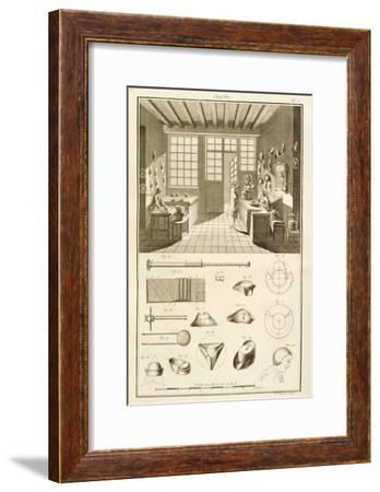 Manufacture of Hats and Hat Designs, from Encyclopedie Des Sciences et Metiers by Denis Diderot--Framed Giclee Print