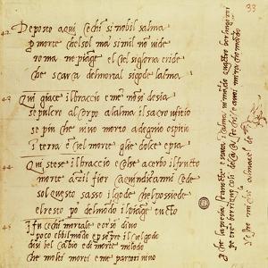 Manuscript of Poem by Michelangelo Buonarroti