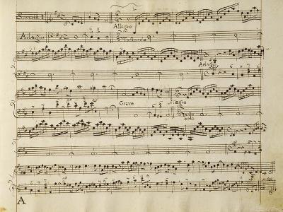 Manuscript Page from the Score of Opus V, 'sonata for Violin, Violone, and Harpsichord'-Arcangelo Corelli-Giclee Print