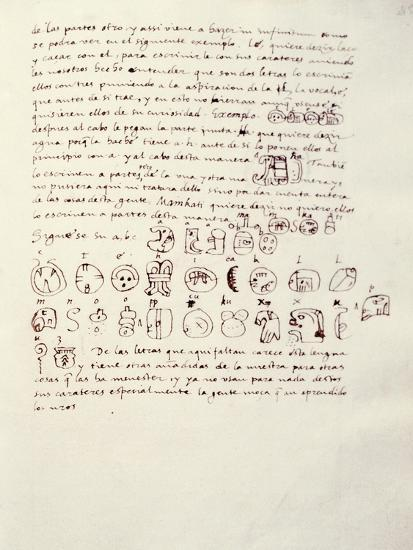 Manuscript Page with Mayan Alphabet, from Relationship of Things of Yucatan by Diego De Landa--Giclee Print