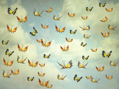 Many Colorful Butterflies Flying Into The Sky Illustrative Photo