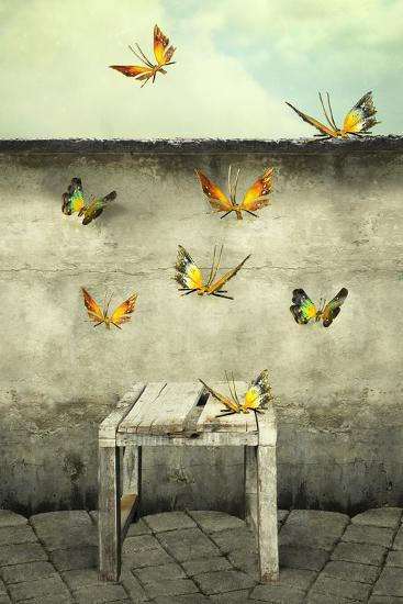Many Colorful Butterflies Flying into the Sky with a Peeling Wall and a Bench, Illustrative Photo A-Valentina Photos-Photographic Print