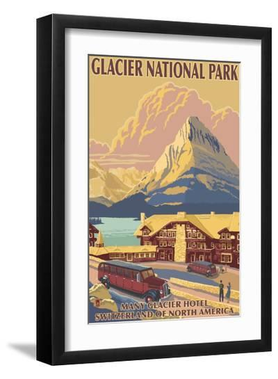 Many Glacier Hotel, Glacier National Park, Montana-Lantern Press-Framed Art Print
