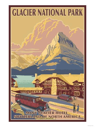 Many Glacier Hotel, Glacier National Park, Montana-Lantern Press-Art Print