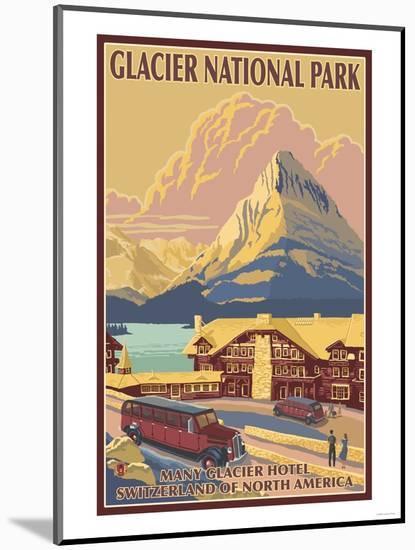 Many Glacier Hotel, Glacier National Park, Montana-Lantern Press-Mounted Art Print