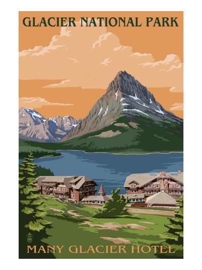 Many Glacier Hotel - Glacier National Park, Montana-Lantern Press-Art Print