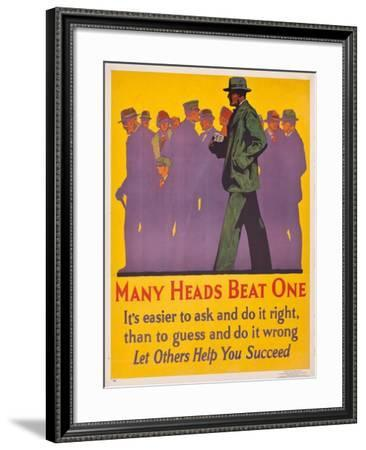 Many Heads Beat One; a 1929 Work Incentive Poster, 1929--Framed Giclee Print