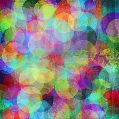 Many Vivid Color Circles on a Grunge Background-Valentina Photos-Art Print