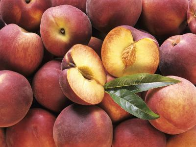 Many Whole Peaches with One Halved--Photographic Print