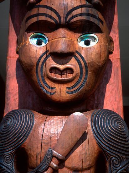 Maori Carving on Arataki Visitors Centre, Waitakere Ranges, Auckland-David Wall-Photographic Print