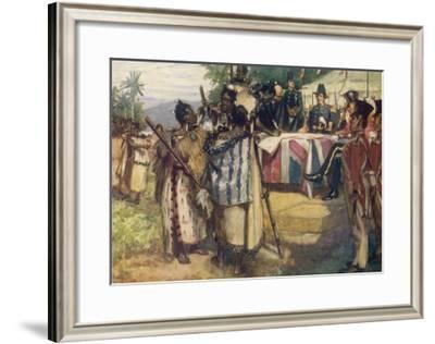 Maori Chiefs Recognise British Sovereignty by Signing the Treaty of Waitangi-A.d. Mccormick-Framed Giclee Print