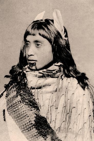 Maori Girl with Moko Chin--Photographic Print