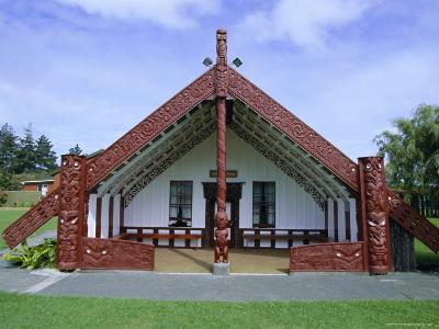 Maori Marae, or Meeting House, at Putiki, North Island, New Zealand-Robert Francis-Photographic Print