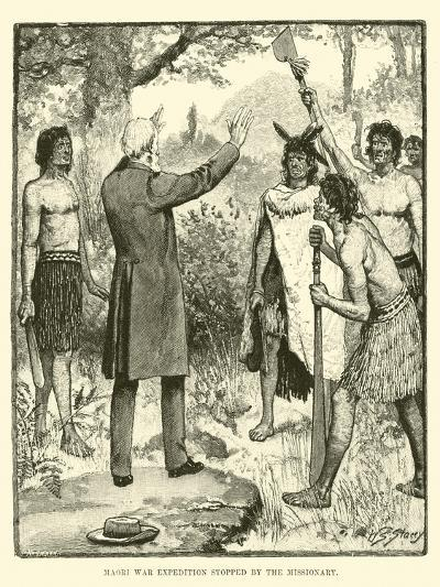 Maori War Expedition Stopped by the Missionary--Giclee Print