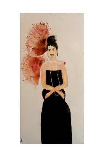 Maori Woman in Black Dress (Seated), 2016-Susan Adams-Giclee Print