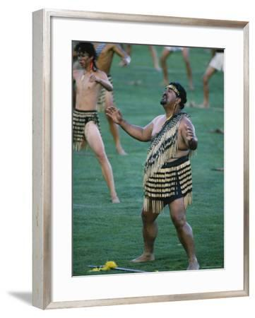 Maoris Perform Traditional Action Songs, Auckland, North Island, New Zealand-Julia Thorne-Framed Photographic Print