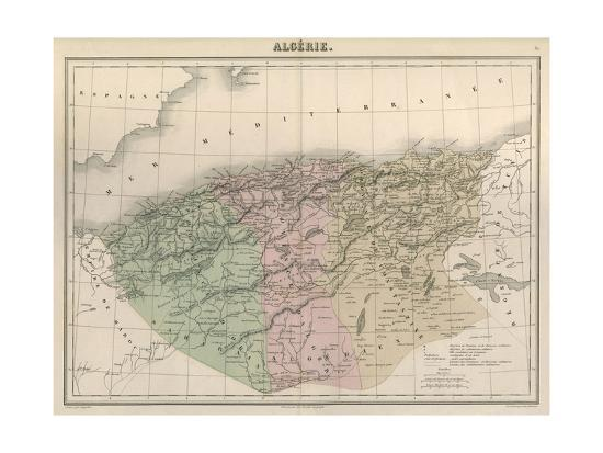 Map, Africa, Algeria C1850-AT Chartier-Giclee Print