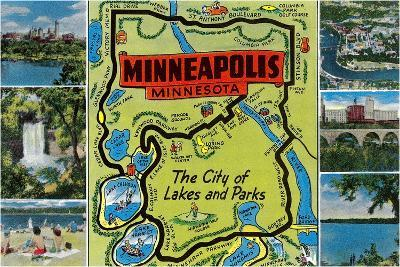Map and Scenes of Minneapolis, Minnesota--Stretched Canvas Print