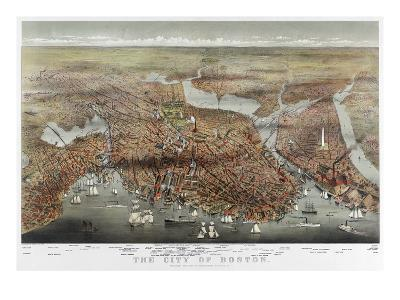 Map: Boston, c1873-Currier & Ives-Giclee Print