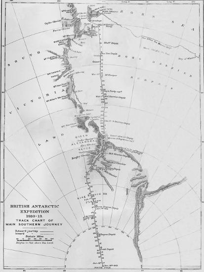 'Map - British Antarctic Expedition 1910-13. Track Chart of Main Southern Journey', 1913-Unknown-Giclee Print