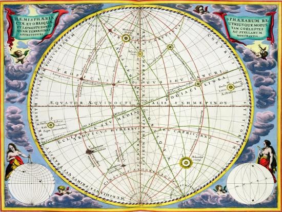 Map charting the movement of the Earth and Planets, 1660-1661-Andreas Cellarius-Giclee Print