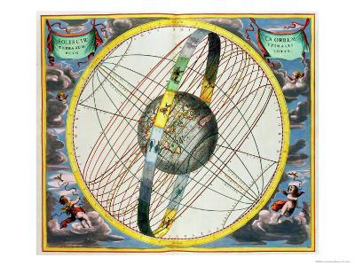 Map Charting the Orbit of the Moon Around the Earth-Andreas Cellarius-Giclee Print
