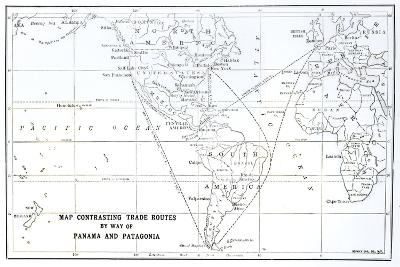 Map Contrasting Trade Routes by Way of Panama and Patagonia--Giclee Print