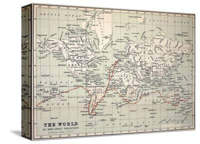 Map Darwin's Beagle Voyage South America-Paul Stewart-Stretched Canvas Print