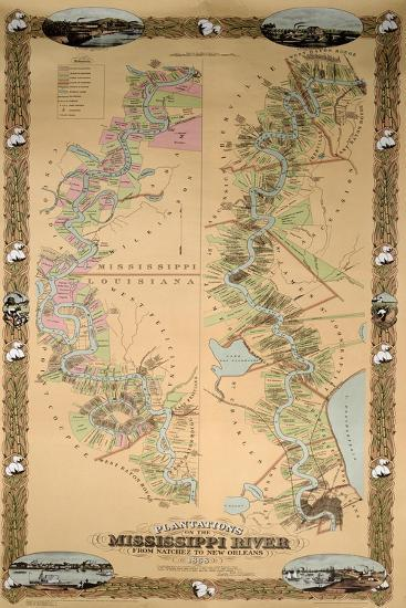 Map Depicting Plantations on the Mississippi River from Natchez to New Orleans, 1858--Stretched Canvas Print