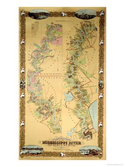 Map Depicting Plantations on the Mississippi River from Natchez to New Orleans, 1858--Premium Giclee Print