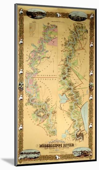 Map Depicting Plantations on the Mississippi River from Natchez to New Orleans, 1858--Mounted Giclee Print