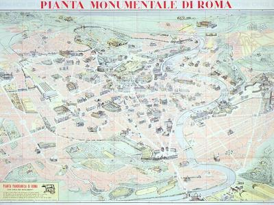 picture about Printable Map of Rome known as Map Depicting the Most important Monuments of Rome, C.1950 Giclee Print as a result of