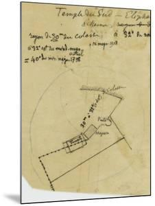Map French Excavations at Elephantine Island in 1908