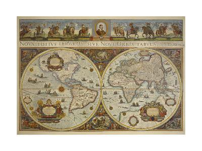 Map in Two Hemispheres with Portrait of Pope Innocent XI, 1676-Erdkarte-Giclee Print