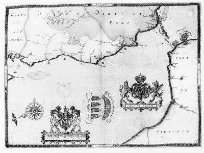 Map No.8 showing the route of the Armada fleet, engraved by Augustine Ryther, 1588-Robert Adams-Giclee Print