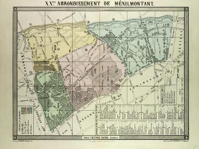 Map of 20th Arrondissement De Ménilmontant Paris France--Giclee Print