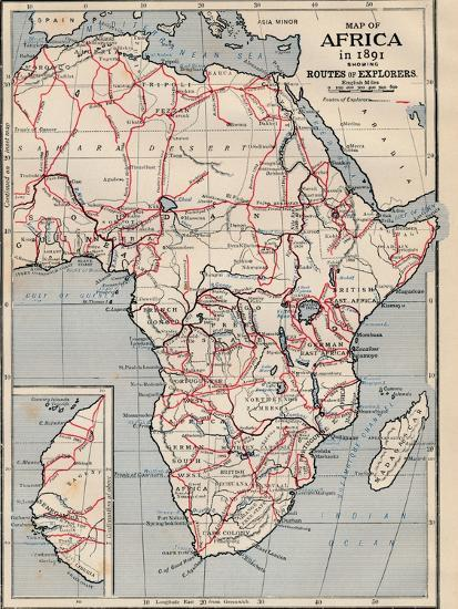 'Map of Africa in 1891 showing Routes of Explorers'-Unknown-Giclee Print