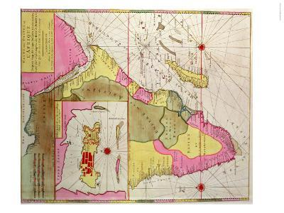 Map of Africa, Including a Detail of the Fortress of Mozambique, circa 1700, Portuguese--Giclee Print